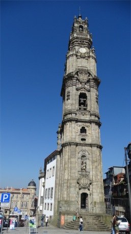 External view of Clerigos tower and church in Porto
