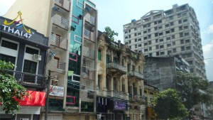 Jumble of building styles in Yangon