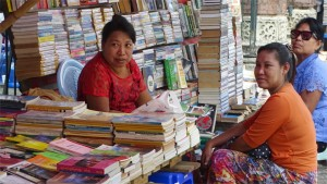 Used book store on the streets of central Yangon