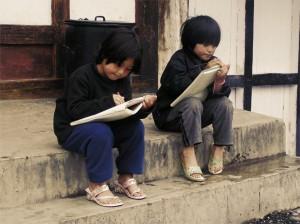 Children at the Bumthang market, , Bhutan