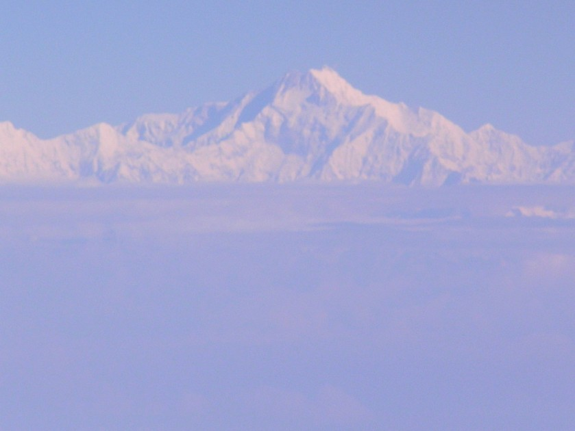 A good view of Everest over a cloud bank