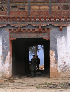 The main gate of the Gangtey Goempa, Phobjika valley, Bhutan