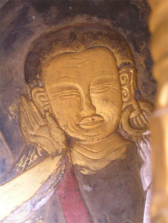 Painted wooden image in Chimi Lhakhang, Bhutan