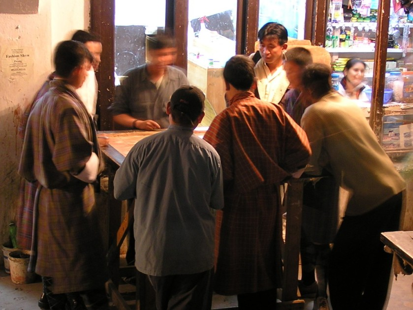 Carrom players and kibitzers, Thimphu, Bhutan