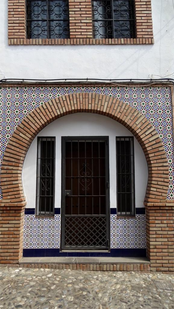 Brickwork and tiles around a door