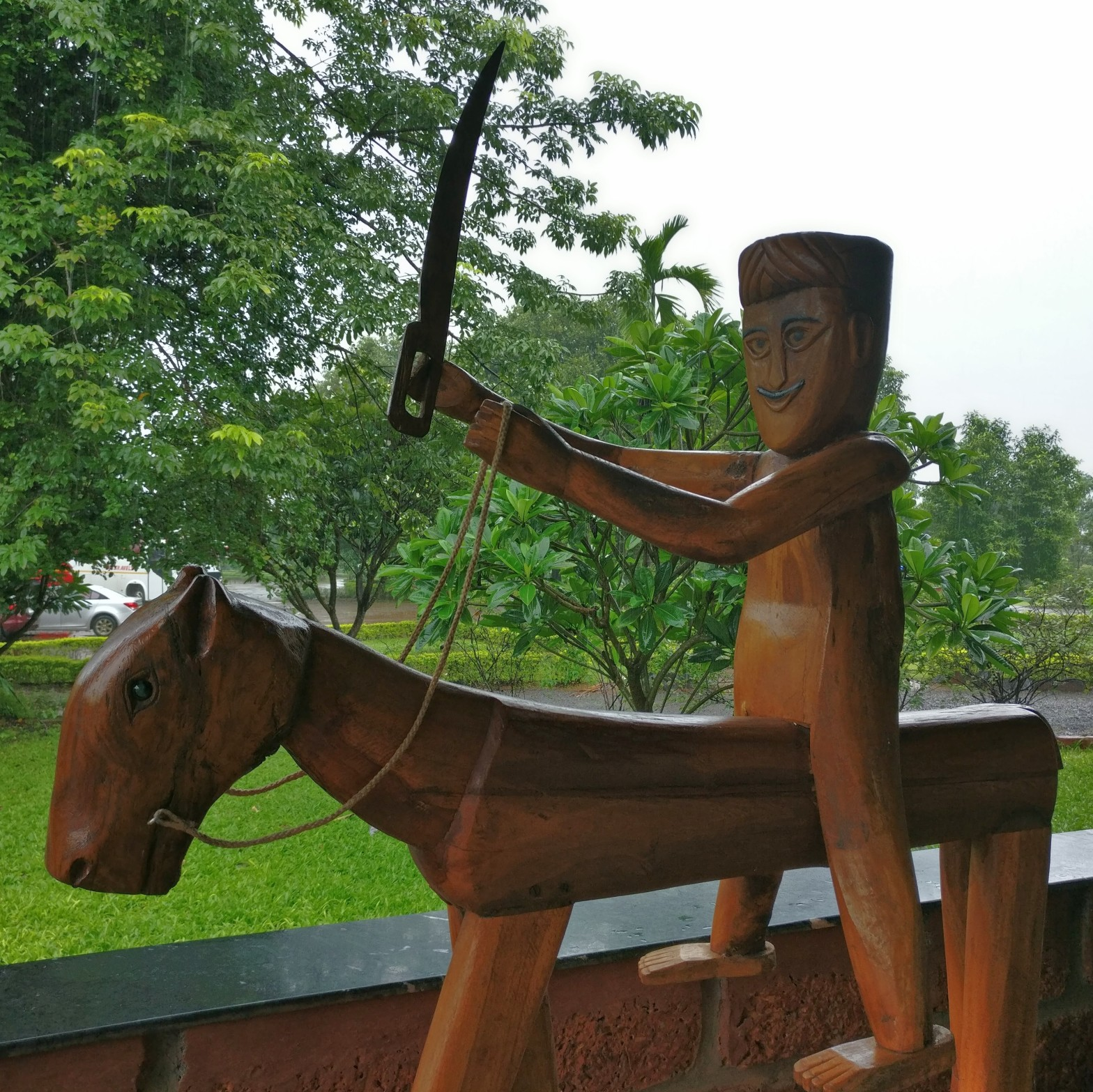 Naive sculpture of a mounted warrior
