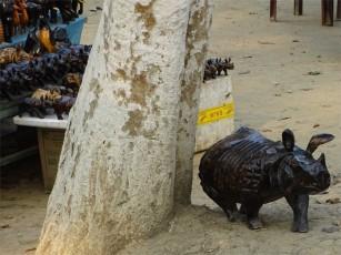 A fierce wooden rhino